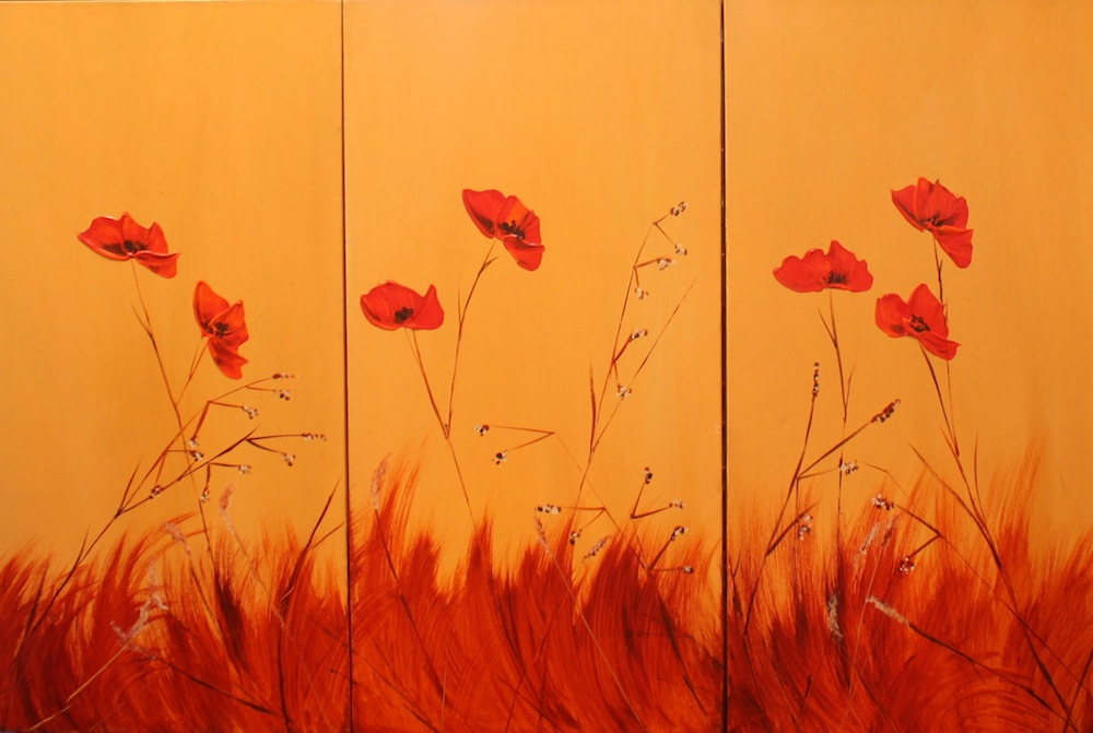 Poppy Triptych on Ochre