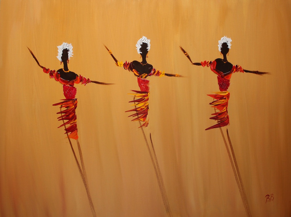Three Dancing Girls on Ochre