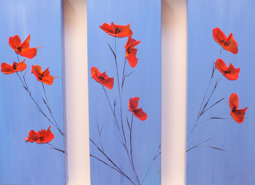 Poppy Triptych on Blue